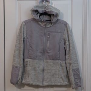 Free Country Fleece Winter Jacket Zip Up Grey Gray